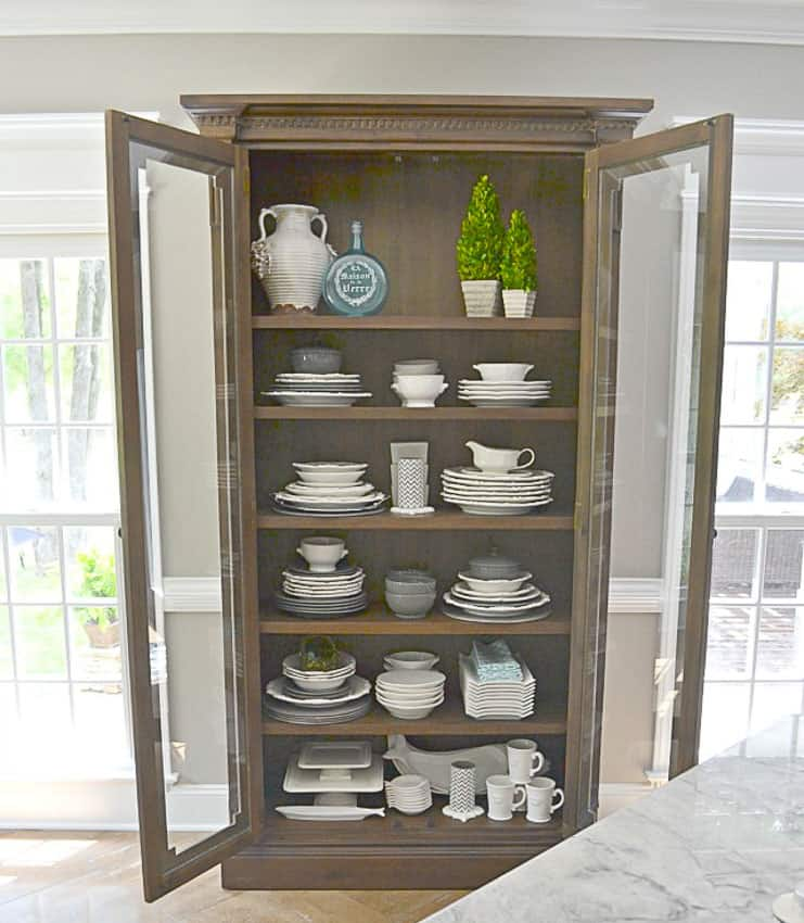 Glass Cabinet Dish Display