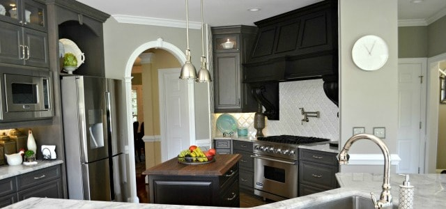 Remodeled Restoration Hardware Look Kitchen With Gray Cabinets, Black Accents, Custom Hood And