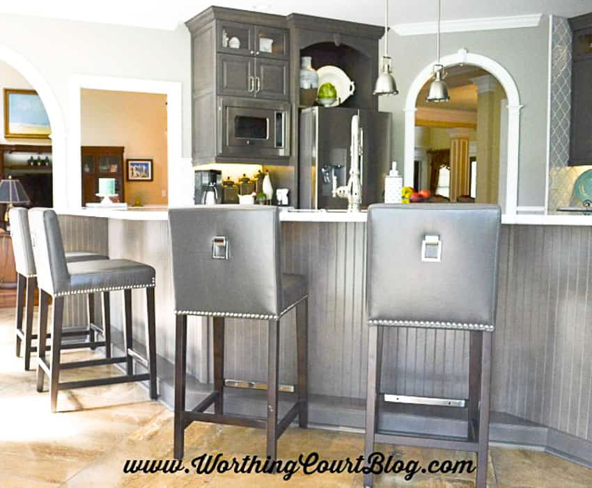 Kitchen island wrapped with beadboard || Worthing Court