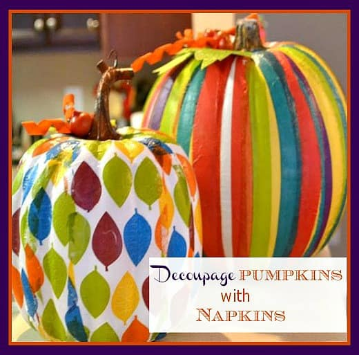 A fun and easy fall craft: how to decoupage faux pumpkins with colorful paper napkins || WorthingCourtBlog.com