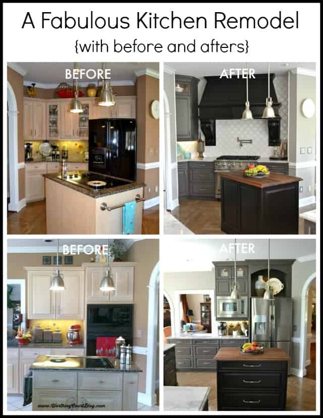 Before and afters of a beautiful kitchen remodel featuring gray cabinets, a custom black hood and carrera look quartz counters