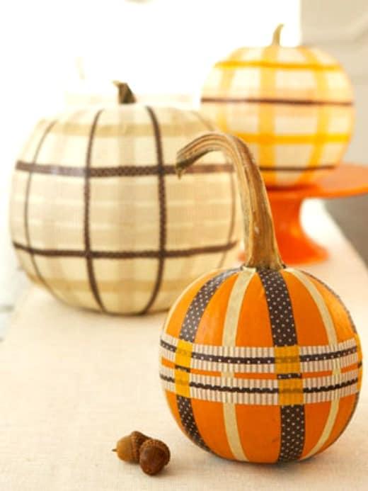 Create plaid pumpkins with washi tape.