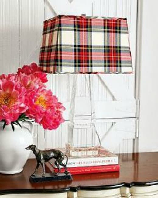 Add a touch of plaid for fall and Christmas to any room by switching out a lampshade for a plaid one
