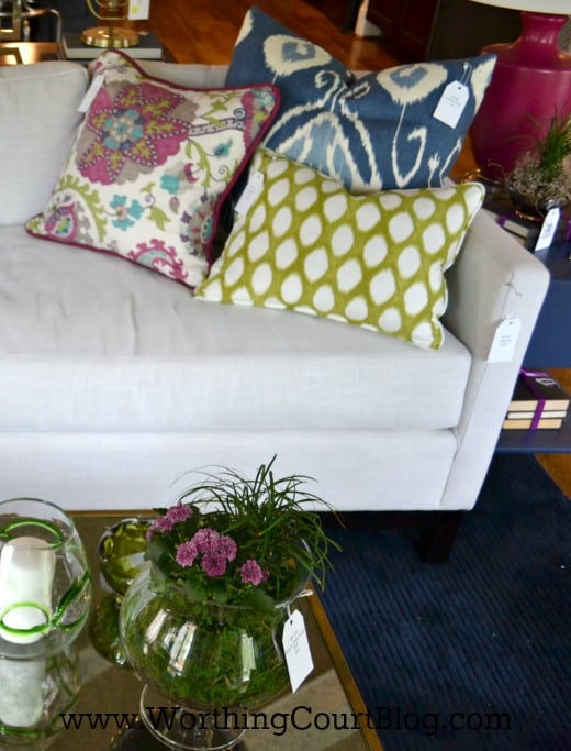 Colorful accent pillows
