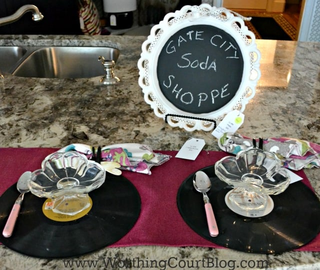 For a fun place setting, used old vinyl records as plate chargers
