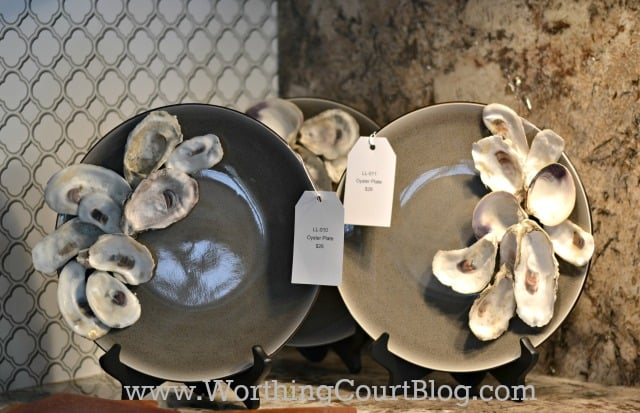 Glue oyster shells to plain plates to recreate the look of the expensive version