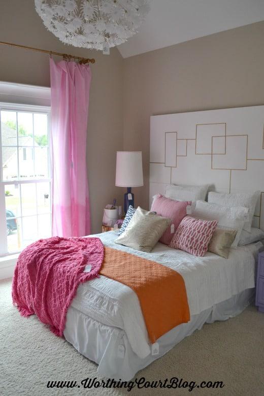 Girl's bedroom with mid-century modern design details