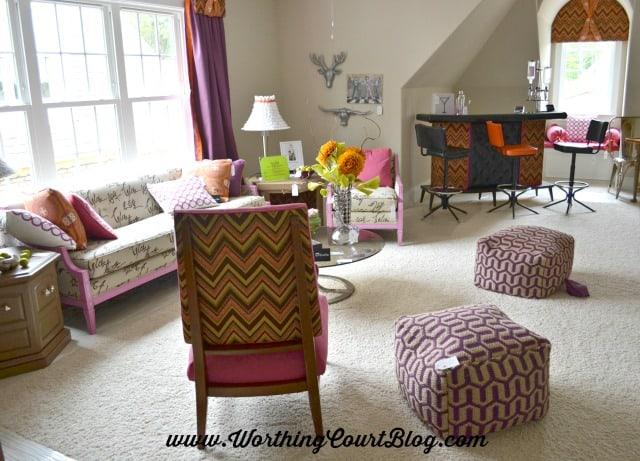 Bonus room with mid-century styling