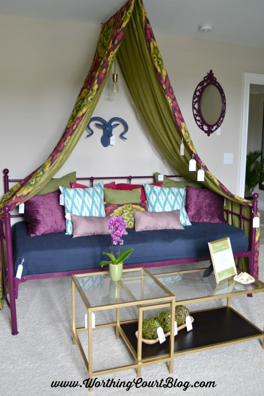 Canopy made with fabric above a daybed