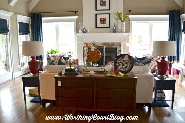 Family room decorated with mid-century colors and styling