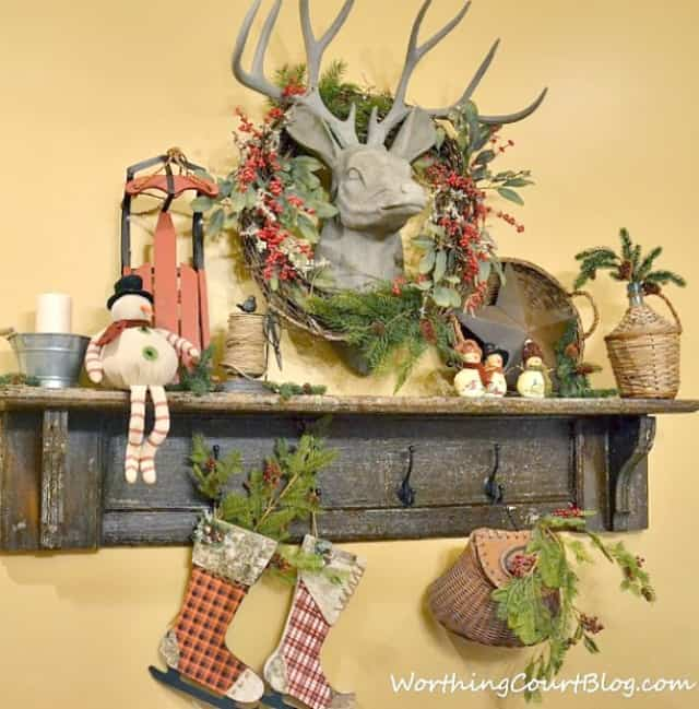 A room filled with rustic Christmas decorations.