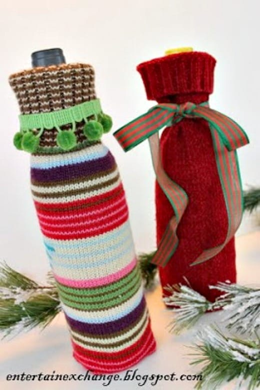 Use the sleeves from a colorful sweater to create wine bottle cozies.