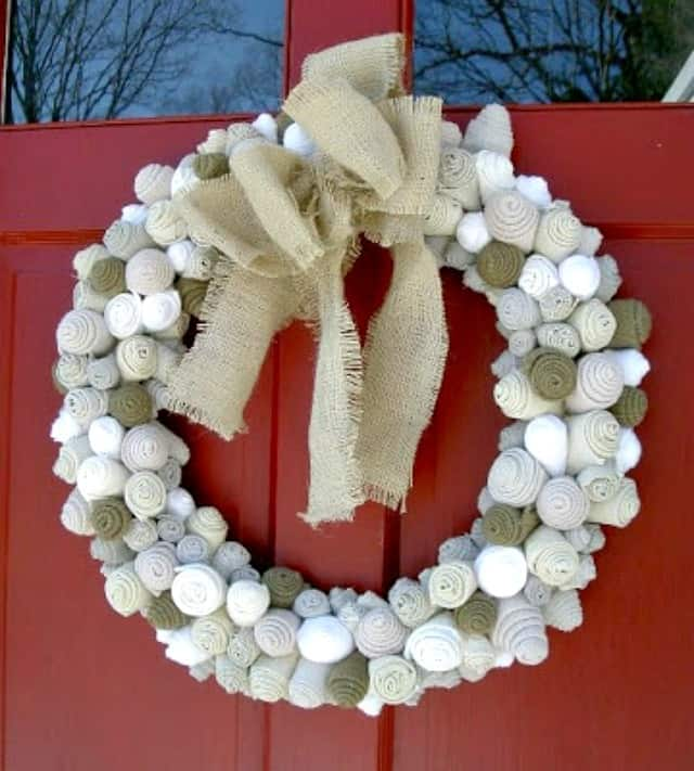 Use strips cut from an old sweater to make a wreath that will last from Christmas through the rest of winter.