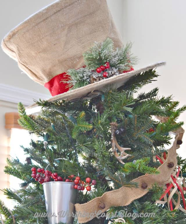 Burlap snowman hat Christmas tree topper