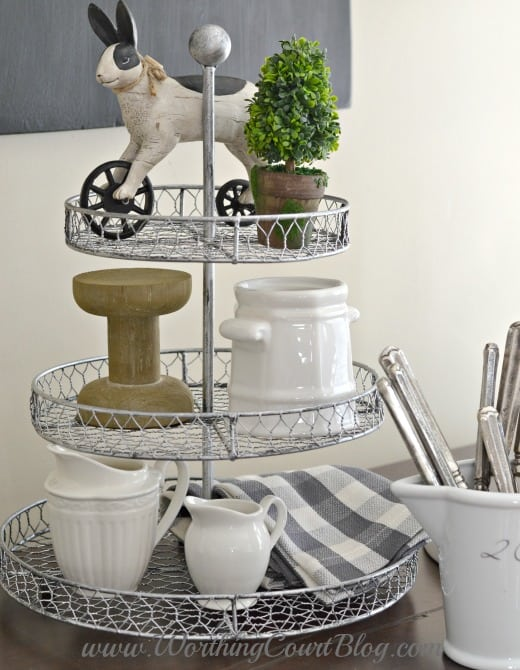 Tiered wire stand kitchen vignette