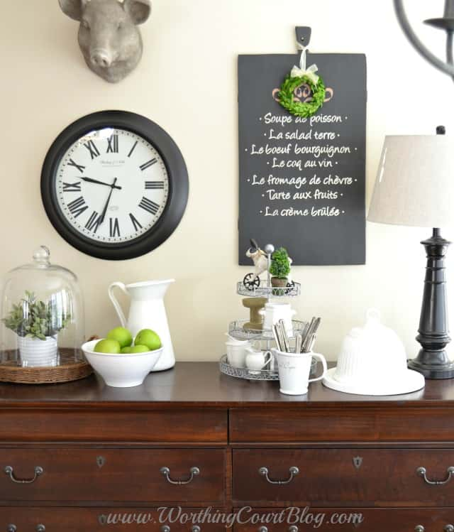 Kitchen farmhouse vignette and wall grouping