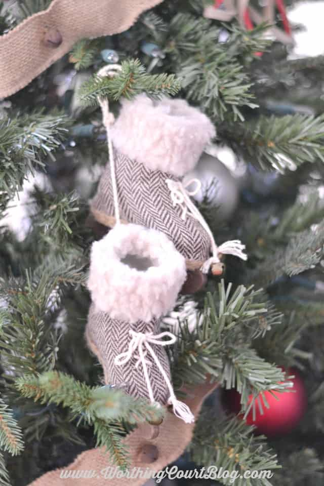 Hang a pair of mini ice skates on your Christmas tree