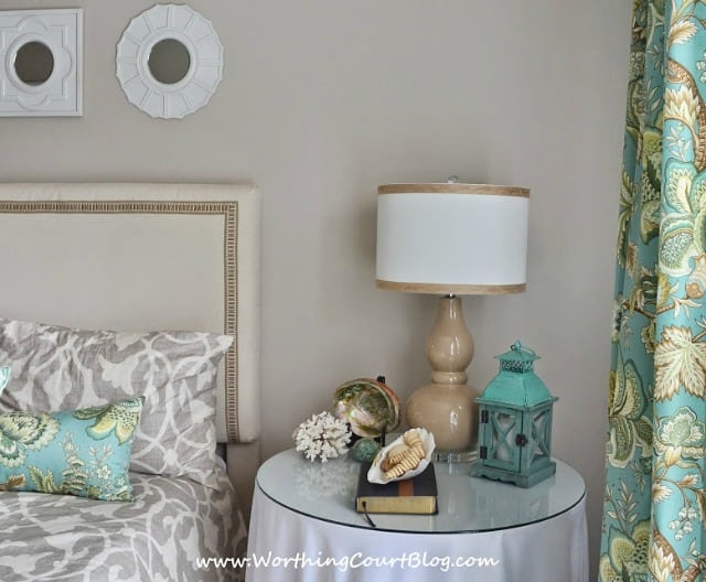 Neutral and aqua bedroom