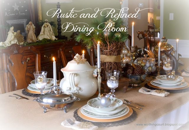 Rustic and refined Christmas tablescape