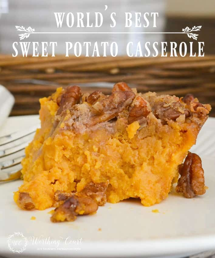 This delicious sweet potato casserole recipe is perfect for Thanksgiving, Christmas or anytime of the year || Worthing Court #CasseroleRecipe #SweetPotatoCasserole