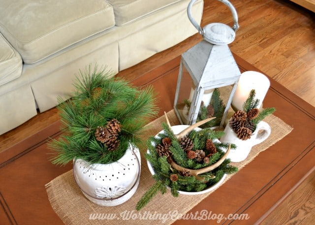 Winter coffee table vignette using faux greenery, pine cones and white items for the display.