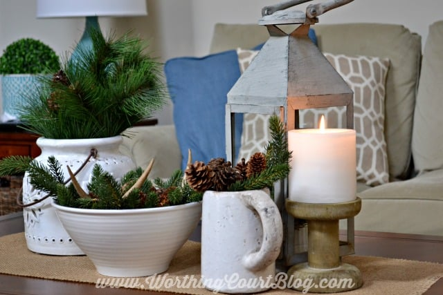 A winter coffee table vignette