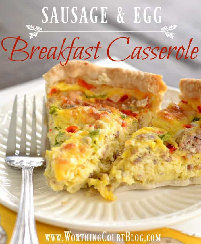 This breakfast casserole makes two pies, can be made ahead and frozen and super tasty || Worthing Court