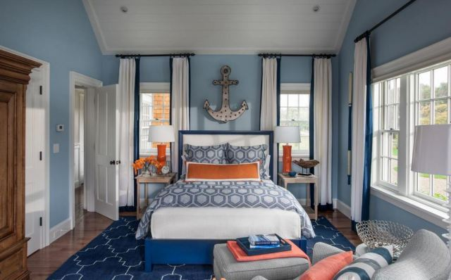 Add a pop of color to the monochromatic color scheme of a room.