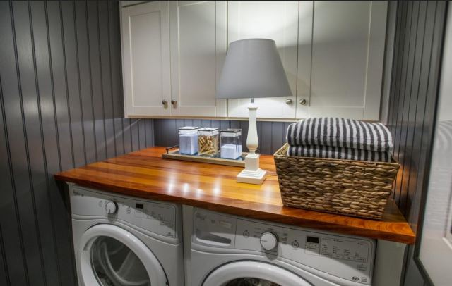 Lots of style in a small laundry room