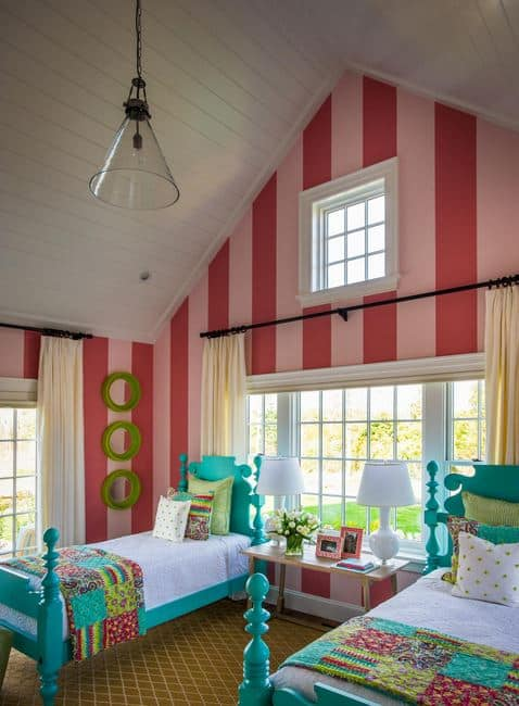 A bright a colorful child's bedroom