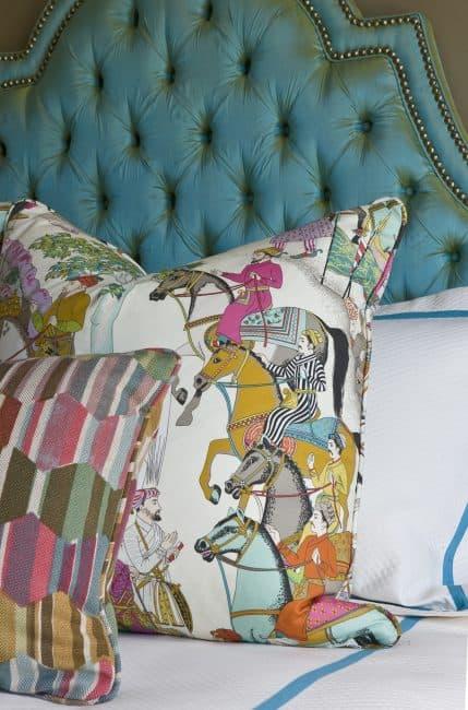 Beautiful headboard and pillow fabrics