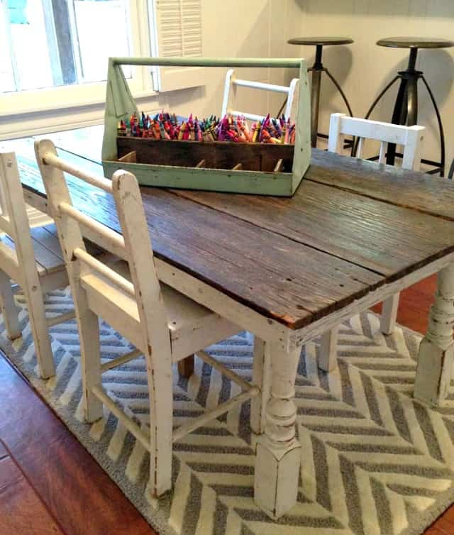Sectioned metal tray from Fixer Upper