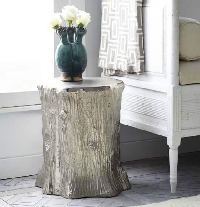 Faux bois tree trunk stool, garden stool, or side table