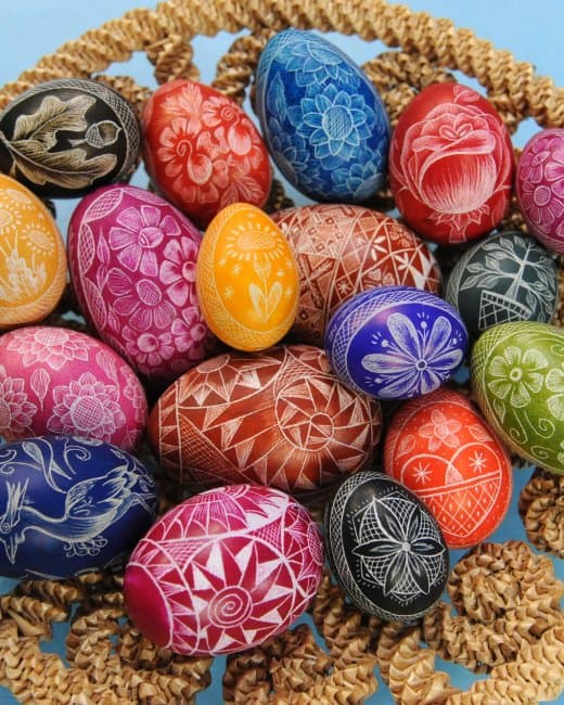 Etched Easter eggs