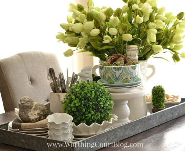 Kitchen table spring centerpiece on a galvanized steel tray worthing court - Ideas for kitchen table centerpieces ...