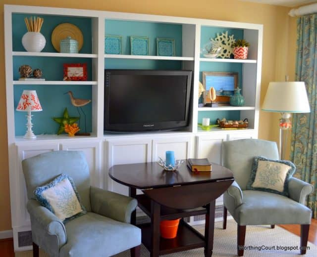 DIY Bookcases built with off the shelf unfinished kitchen cabinets