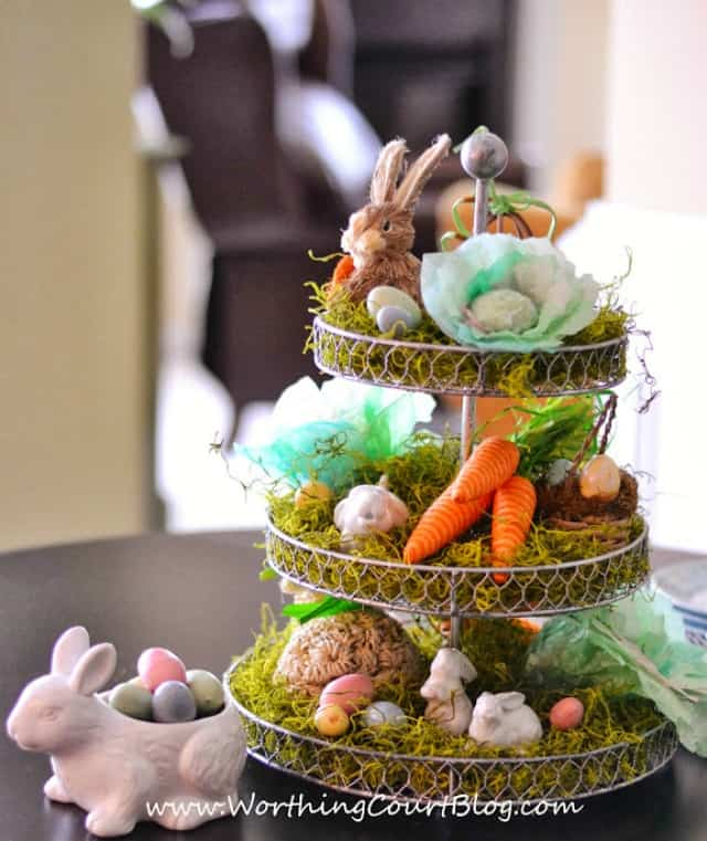 Easter centerpiece with diy cabbages made from coffee filters