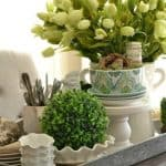 Kitchen Table Spring Centerpiece {On A Galvanized Steel Tray}