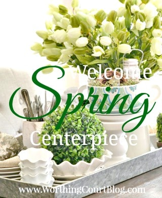Kitchen Table Spring Centerpiece On A Galvanized Tray