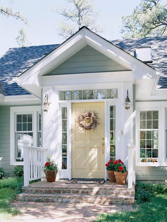 You don't have to paint your front door a bright color to make your front entry appealing. A neutral color works great too!