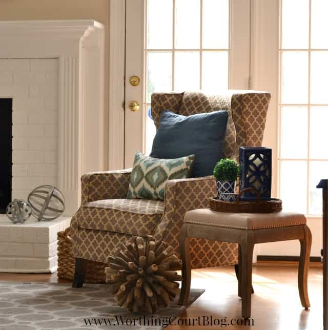 Wing chair and side table vignette