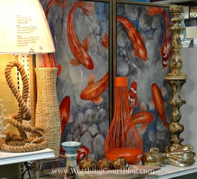 Koi fish print and home decor accessories