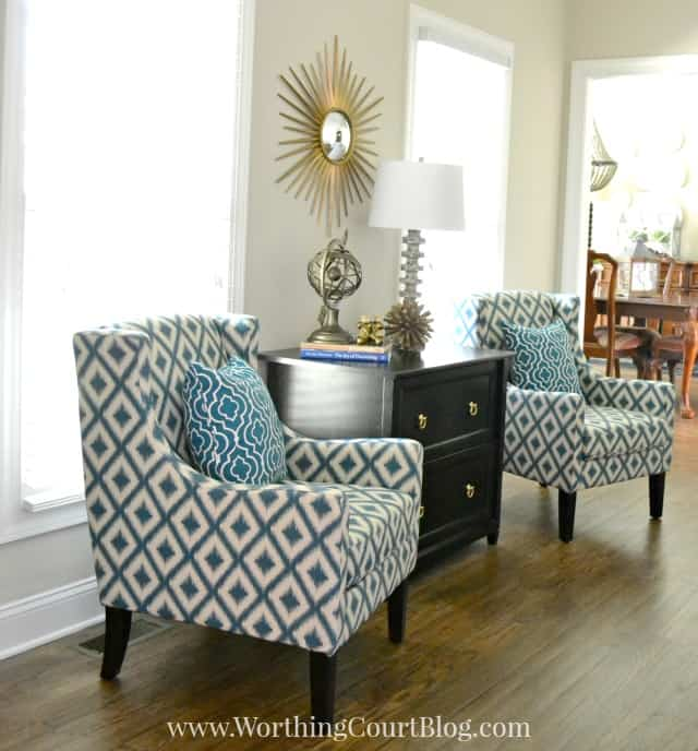 Arm chairs from Target flanking a lateral file in a home office