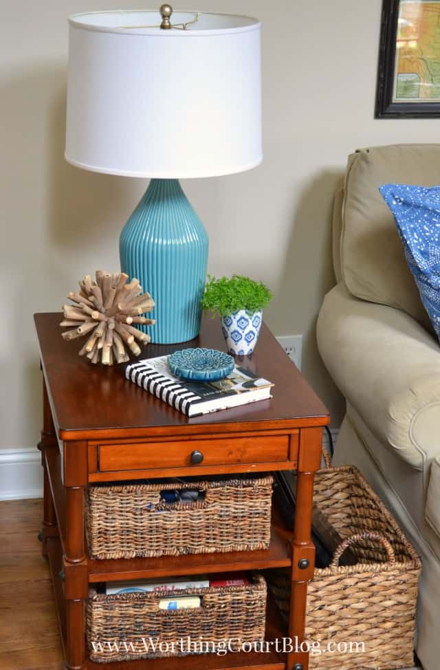 Family room end table vignette