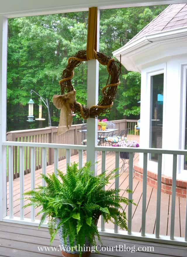 Rustic grapevine wreath.