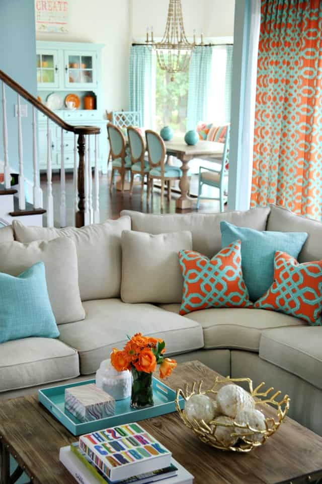 Turquoise And Coral Living Room 5 On Friday Coral And Turquoise Decor