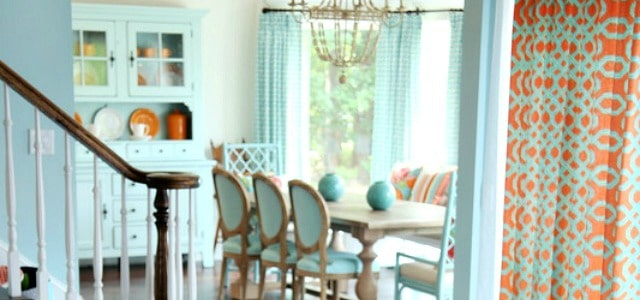 Turquoise and coral decor