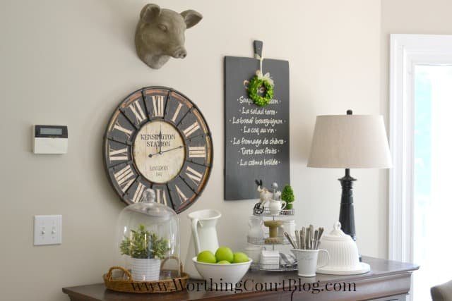 Farmhouse kitchen vignette and wall grouping