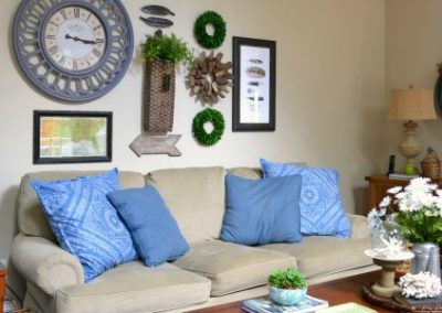 Family Room Gallery Wall Above My Sofa {And Some Other Decor Too}