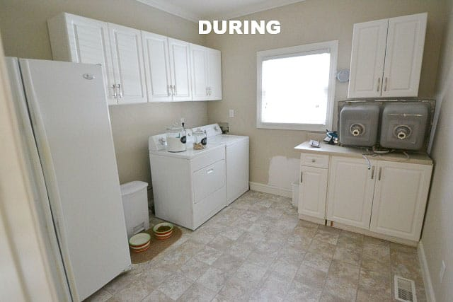 Laundry room during renovation